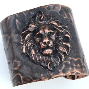 Wide Embossed Gothic Lion Floral Cuff Bracelet